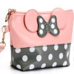 Other - NEW: Cute pink & gray minnie cosmetic bag